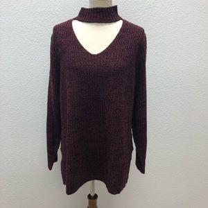 Planet Gold Womens Sweater Maroon Black 3X Plus